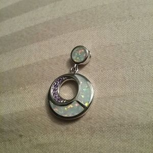 Jewelry - White fire Opal purple stones moon circle pendant